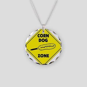 Corn Dog Zone Necklace Circle Charm