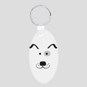 Cartoon Dog Face Keychain (Aluminum, Oval)