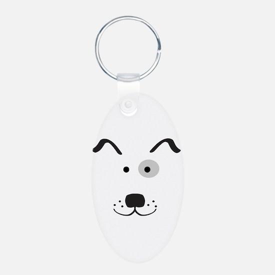 Cartoon Dog Face Keychain (Aluminum, Oval)