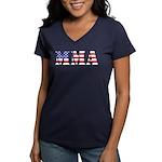 MMA USA Women's V-Neck Dark T-Shirt