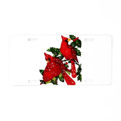 Snow Cardinals Aluminum License Plate