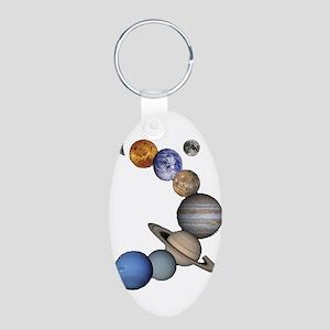 Planet Swirl Aluminum Oval Keychain