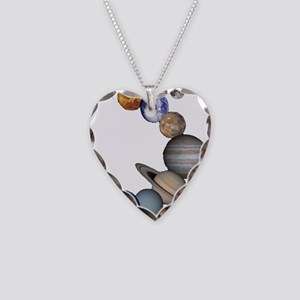 Planet Swirl Necklace Heart Charm
