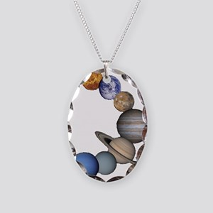 Planet Swirl Necklace Oval Charm