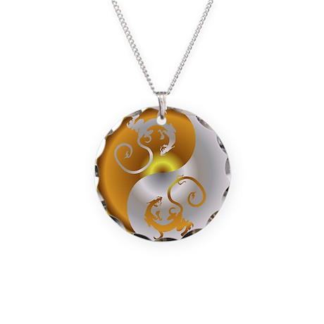 Zen Dragons Necklace Circle Charm