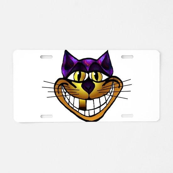 Golden Cheshire Cat Aluminum License Plate
