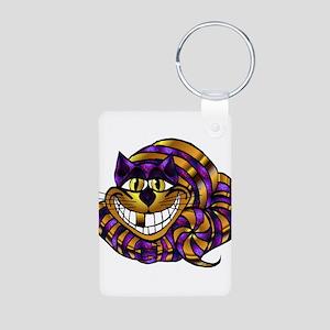 Golden Cheshire Cat Aluminum Photo Keychain