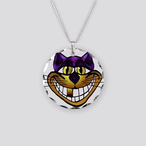 Golden Cheshire Cat Necklace Circle Charm