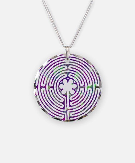 Chartres Labyrinth Bubble Necklace Circle Charm