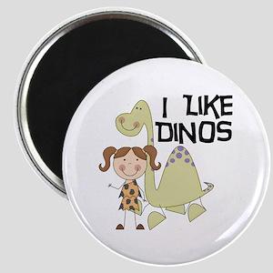 Girl I Like Dinos Magnet