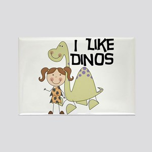 Girl I Like Dinos Rectangle Magnet