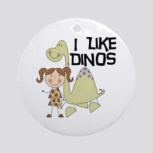 Girl I Like Dinos Ornament (Round)