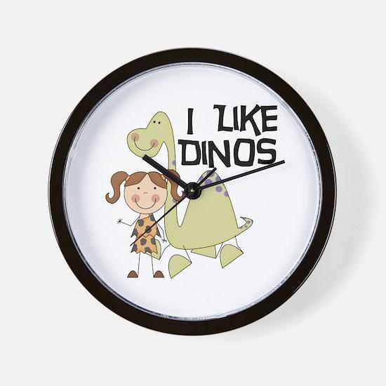 Girl I Like Dinos Wall Clock