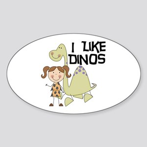 Girl I Like Dinos Sticker (Oval)