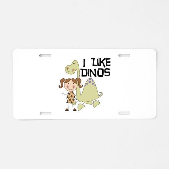 Girl I Like Dinos Aluminum License Plate