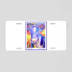 Cow! Purple cow art! Aluminum License Plate