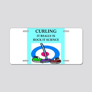 i love curling Aluminum License Plate