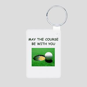 i love golf Aluminum Photo Keychain