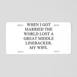 a funny divorce joke Aluminum License Plate