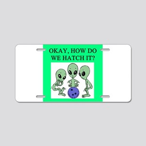 alien bowling joke Aluminum License Plate