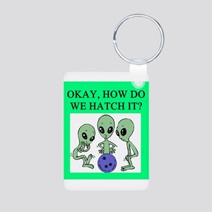 alien bowling joke Aluminum Photo Keychain