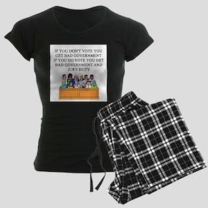 voter government jury duty Women's Dark Pajamas