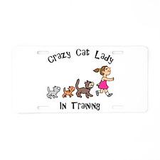 Crazy Cat Lady In Training Aluminum License Plate