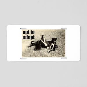 Opt To Adopt Cat Aluminum License Plate
