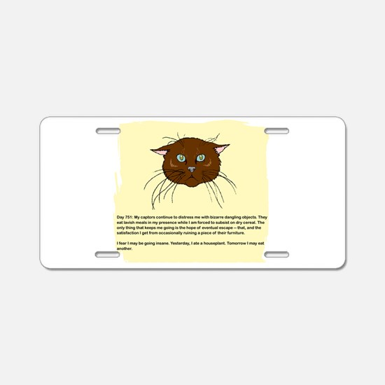 The Cat's Diary Aluminum License Plate