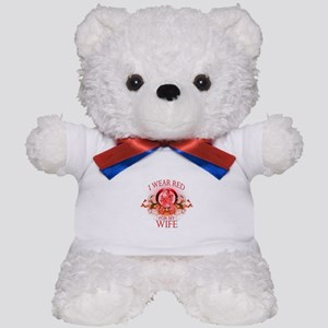I Wear Red For My Wife (floral) Teddy Bear