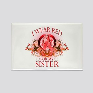I Wear Red For My Sister (floral) Rectangle Magnet