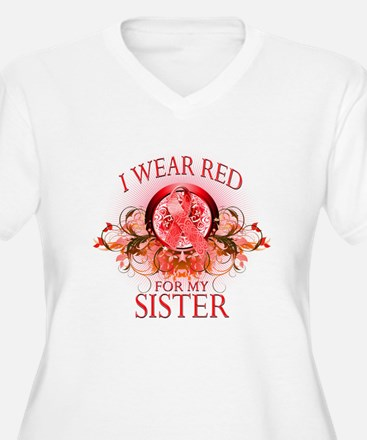 I Wear Red For My Sister (floral) T-Shirt