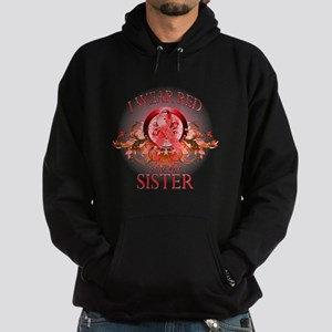 I Wear Red For My Sister (floral) Hoodie (dark)