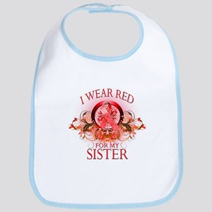I Wear Red For My Sister (floral) Bib