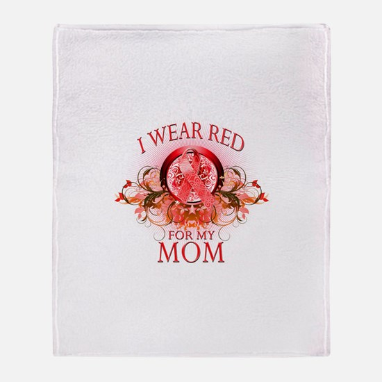 I Wear Red For My Mom (floral) Throw Blanket