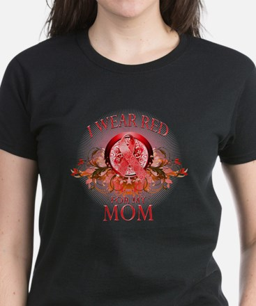 I Wear Red For My Mom (floral) Women's Dark T-Shir