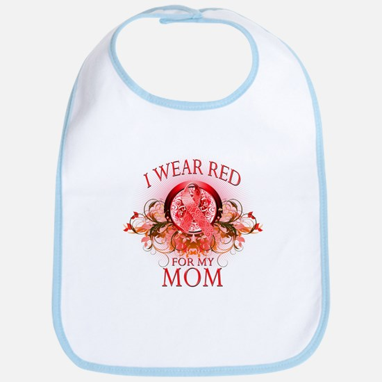 I Wear Red For My Mom (floral) Bib