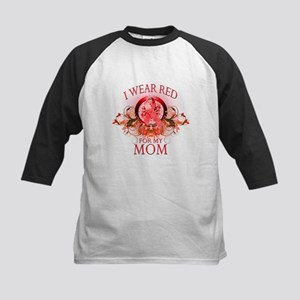 I Wear Red For My Mom (floral) Kids Baseball Jerse