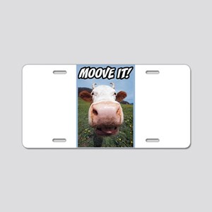 Moove It Cow Aluminum License Plate