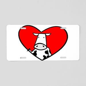 I Heart Cows Aluminum License Plate