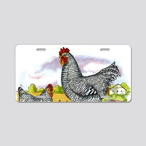 Antique Chicken Illustration Aluminum License Plat