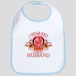 I Wear Red For My Husband (floral) Bib