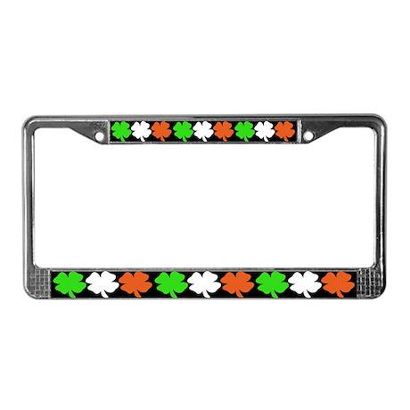 Irish Flag Shamrocks License Plate Frame