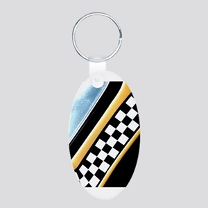 Checker Cab No. 7 Aluminum Oval Keychain