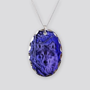 Night Warrior Wolf Necklace Oval Charm