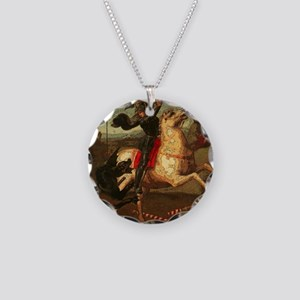 St. George Fighting Dragon Necklace Circle Charm