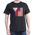 Big Philippine Flag & US Flag Dark T-Shirt