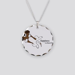 Happiness is a Basset Hound Necklace Circle Charm
