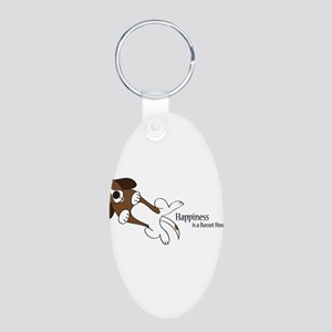 Happiness is a Basset Hound Aluminum Oval Keychain