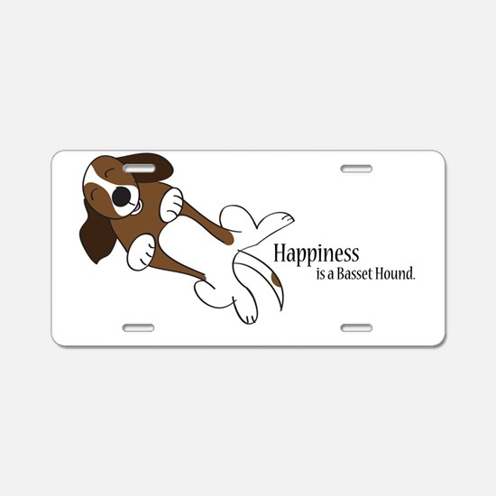 Happiness is a Basset Hound Aluminum License Plate